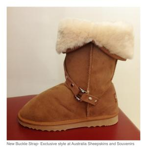 Made with pure Merino sheepskin, styled with a buckle strap feature. Hand-crafted by Australia Sheepskins and Souvenirs in Melbourne, Australia.